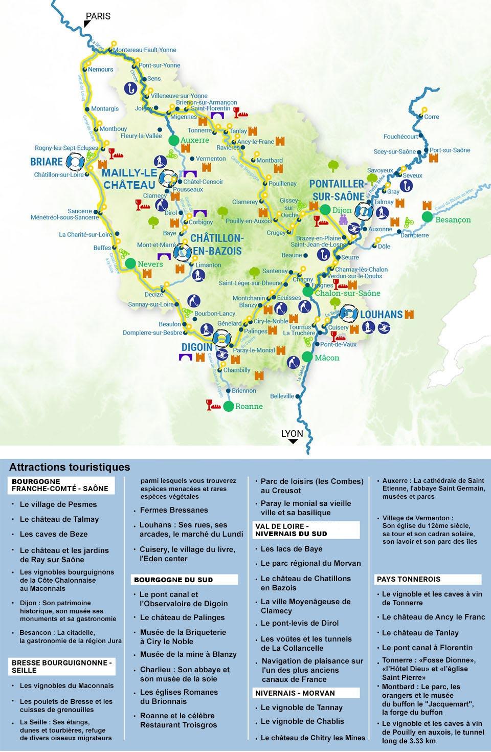 Carte Bourgogne Nivernais Loire