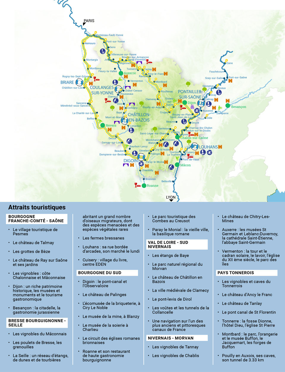Carte Bourgogne Saone Seille
